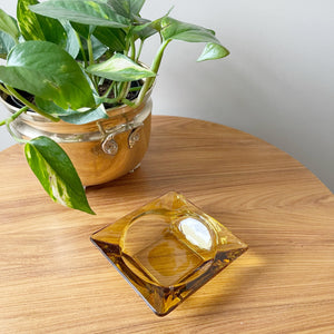 Vintage Amber Glass Ashtray/Catchall