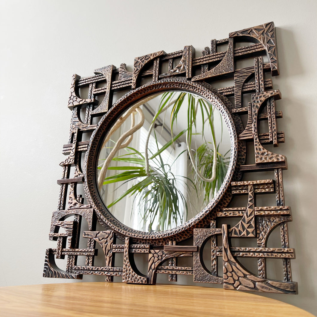 Vintage 1970s Brutalist Mirror by Coppercraft Guild