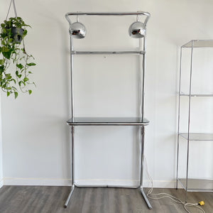 Vintage Chrome and Glass Desk/Shelf