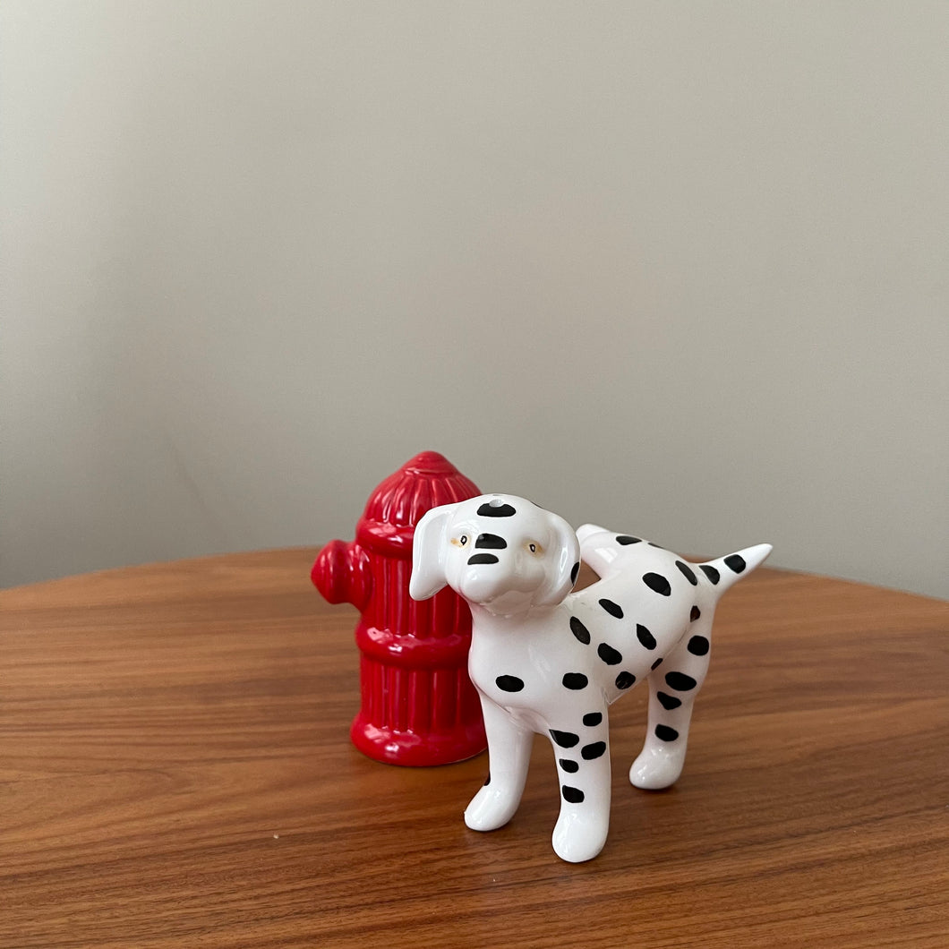 Vintage Ceramic Dalmatian and Fire Hydrant Salt and Pepper Shakers
