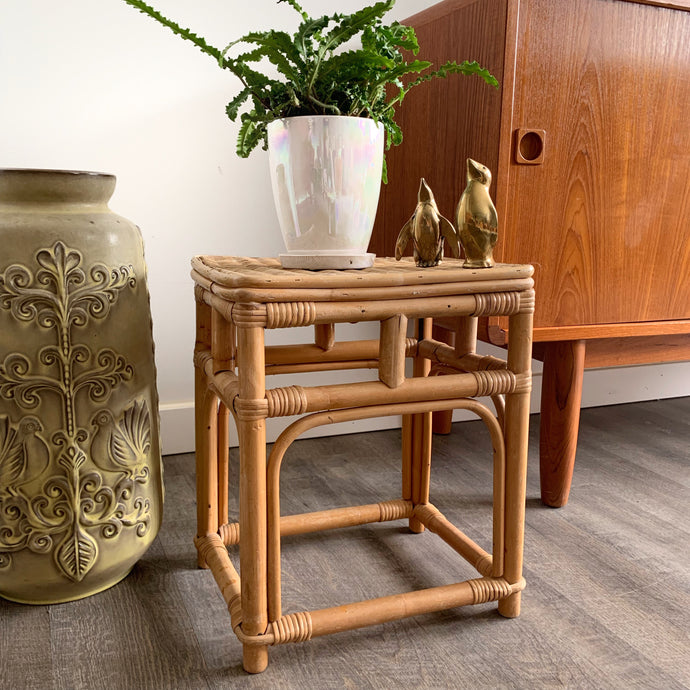 Vintage Boho Rattan Side Table