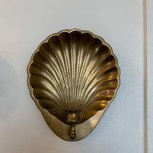 Load image into Gallery viewer, Vintage Brass Shell Candle Sconce