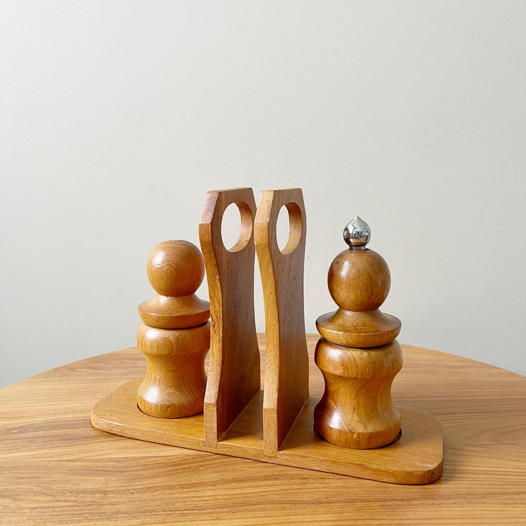 Vintage Wooden Salt and Pepper Mill Set