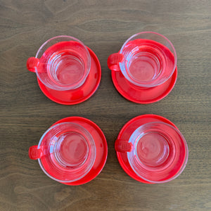 Set of 4 Vintage Bodum Espresso Cups and Saucers