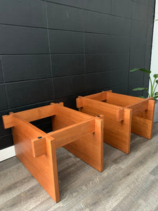 Pair of Danish Teak Side Tables with Glass Tops by Sigurd Hansen Mobelfabrik