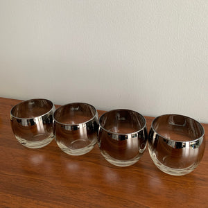 Set of 4 Vintage Silver Fade Roly Poly Glasses