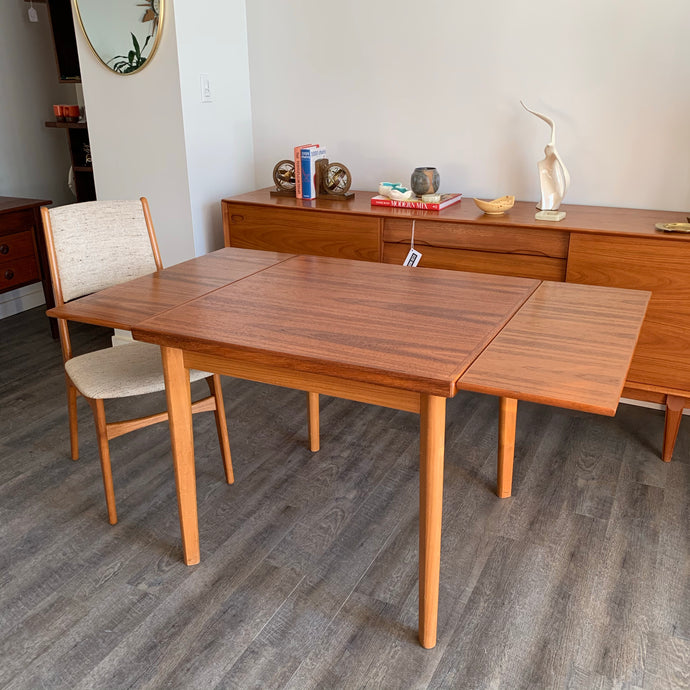 Square Teak Dining Table With Two Leaves