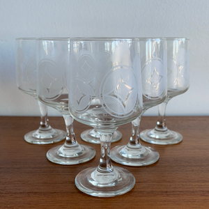 Set of 6 Diamond Motif Glasses