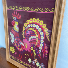 Load image into Gallery viewer, Vintage Oak Framed Rooster Textile Art