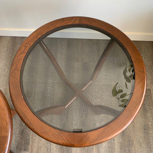 Vintage Round Walnut Side Tables
