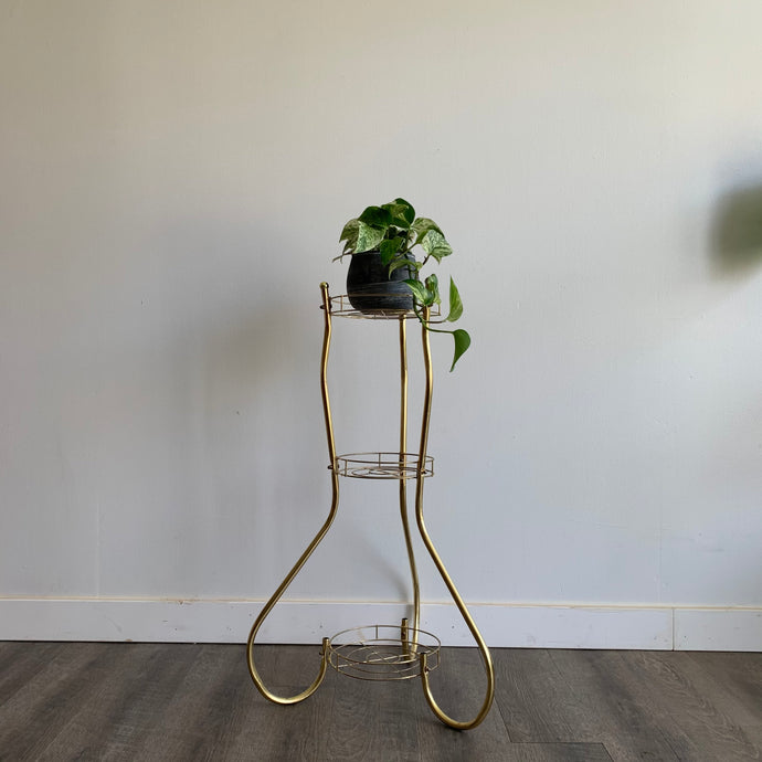 Vintage Brass Three Tiered Plant Stand