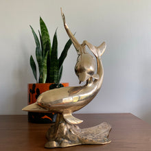 Load image into Gallery viewer, Vintage Large Brass Swimming Dolphins Sculpture