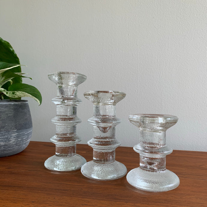 Set of 3 Vintage Ice Textured Glass Candle Holders