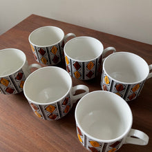 "Load image into Gallery viewer, 1970's Coffee Mugs Kathie Winkle ""Mexico"" Pattern Design"