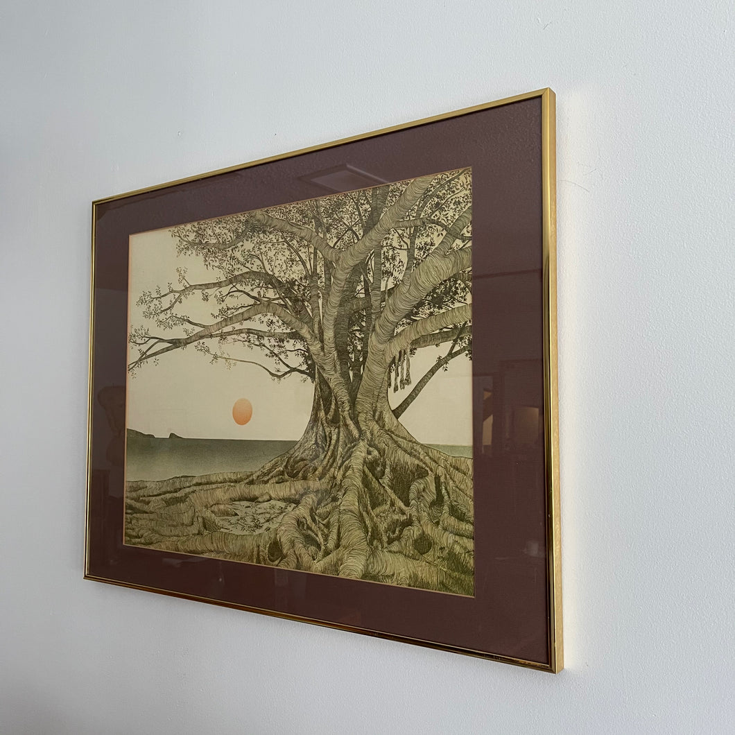 "1970s ""Tropical Fig Tree"" Brass Framed Wall Art by Michael E. Arth"