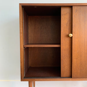 Vintage Walnut Cabinet with Sliding Doors
