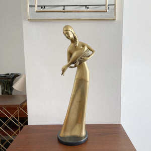 Vintage Solid Brass Statue of a Woman