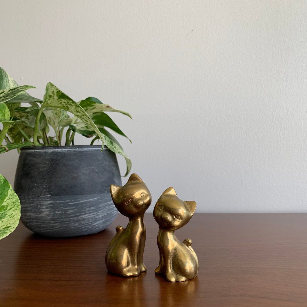Pair of Vintage Brass Cats