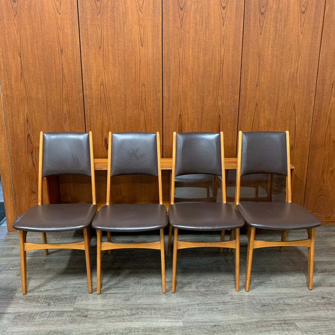 Mid Century Modern Teak Dining Chairs with Dark Brown Vinyl Upholstery