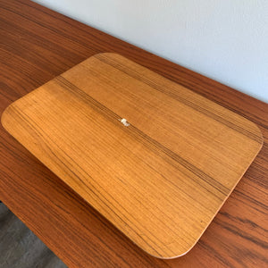 Vintage Teak Tray with Brass Corner Accents