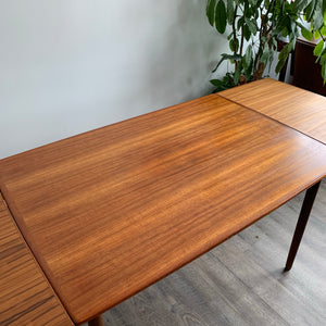 Surfboard Teak Dining Table with Two Leaves