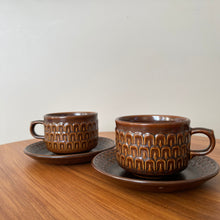 Load image into Gallery viewer, Vintage MCM Wedgwood England Pennine Brown Coffee Mug and Saucer Set