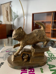 Vintage Brass Cat Paperweight