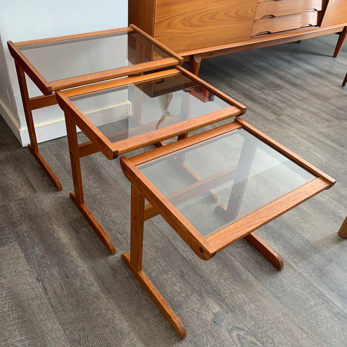 Vintage Teak Nesting Tables with Glass Tops