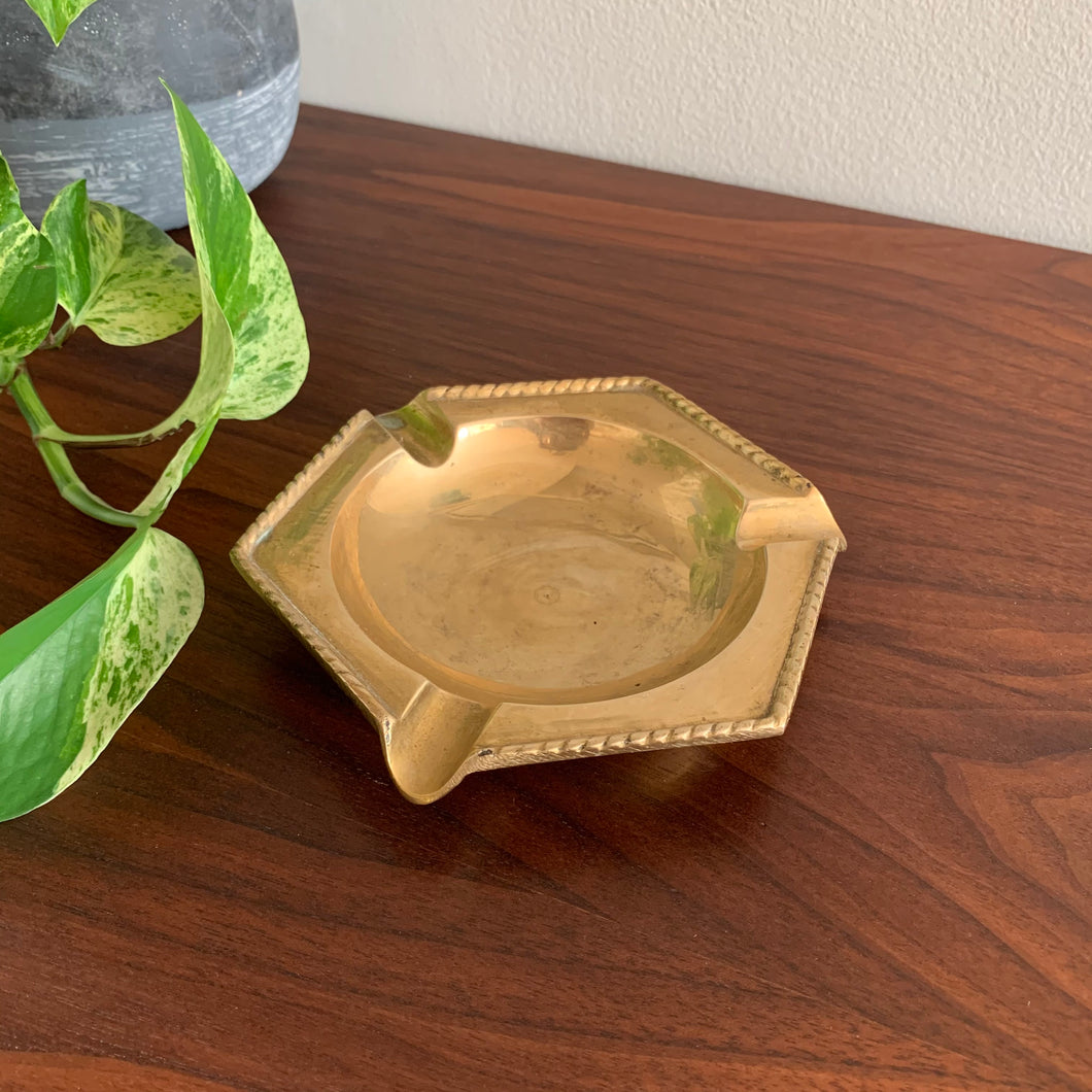 Vintage Solid Brass Ashtray