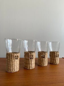 Vintage Glasses with Wicker Sleeves