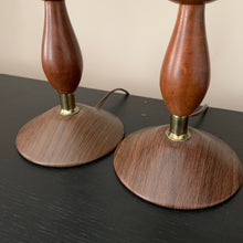 Load image into Gallery viewer, Pair of Mid Century Modern Walnut Table Lamps