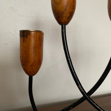 Load image into Gallery viewer, Pair of Vintage Mid Century Modern Teak and Black Metal Candle Holder