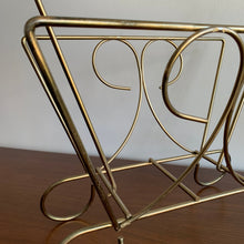 Load image into Gallery viewer, Vintage Brass Magazine Rack