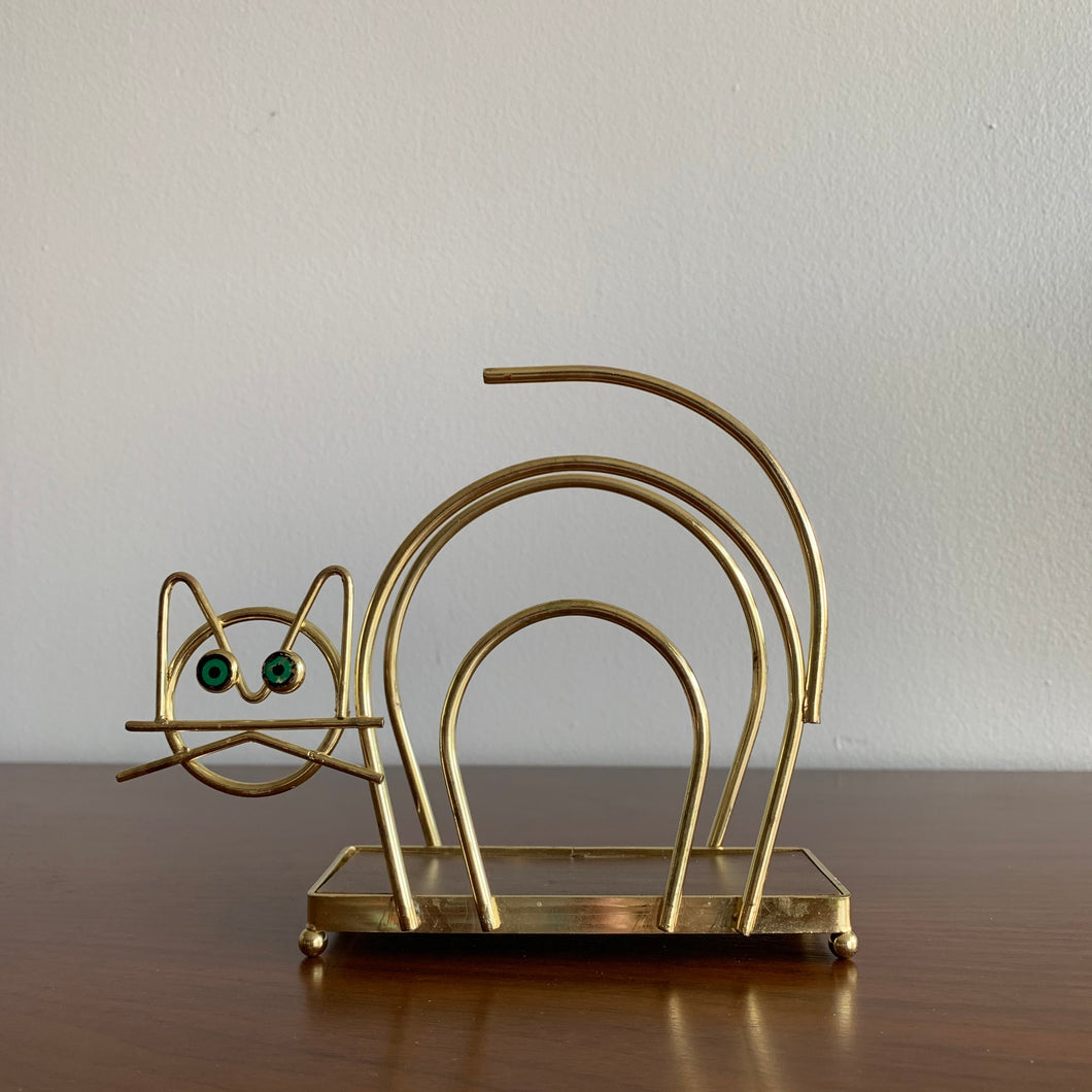 Vintage Brass Cat Napkin/Letter Holder