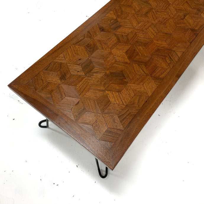 Parquet Coffee Table with Hairpin Legs