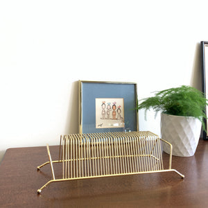Small Brass Tabletop Vinyl Rack