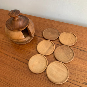 Vintage Wooden Coaster Set
