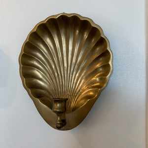 Vintage Brass Shell Candle Sconce