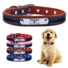 Load image into Gallery viewer, Custom Engraved ID Name Adjustable Personalized Dog Puppy Leather Collar
