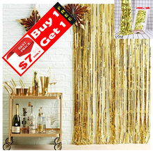 Load image into Gallery viewer, Metallic Fringe Curtain Decor
