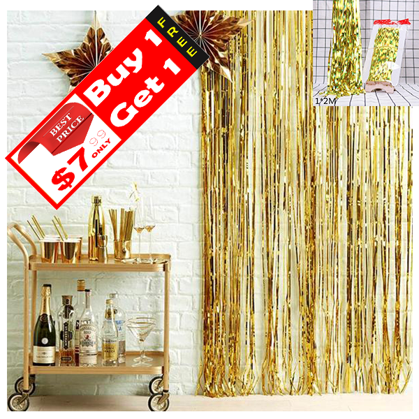 Metallic Fringe Curtain Decor