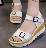 .White Leather Wedge