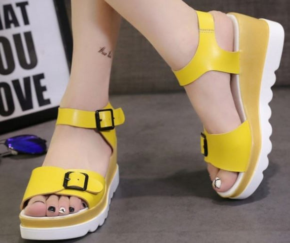 .Leather Wedge Yellow
