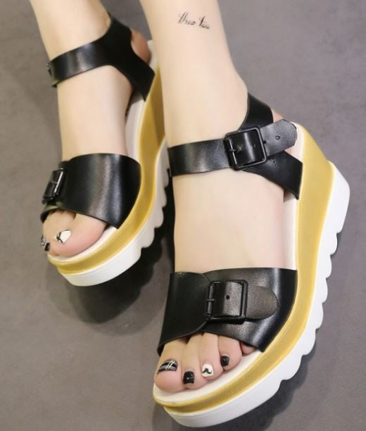 .Black Leather Wedge