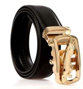 Gold Plated Jaguar Buckle-Black Belt