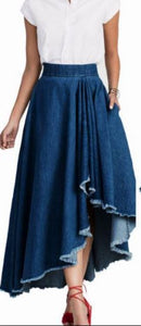 DENIM FRONT CUT SKIRT