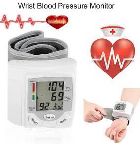 Automatic Wrist Blood Pressure Monitor + Case Digital LCD