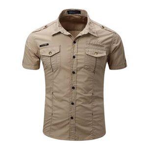 Cotton Double Breasted Short Sleeve Shirts