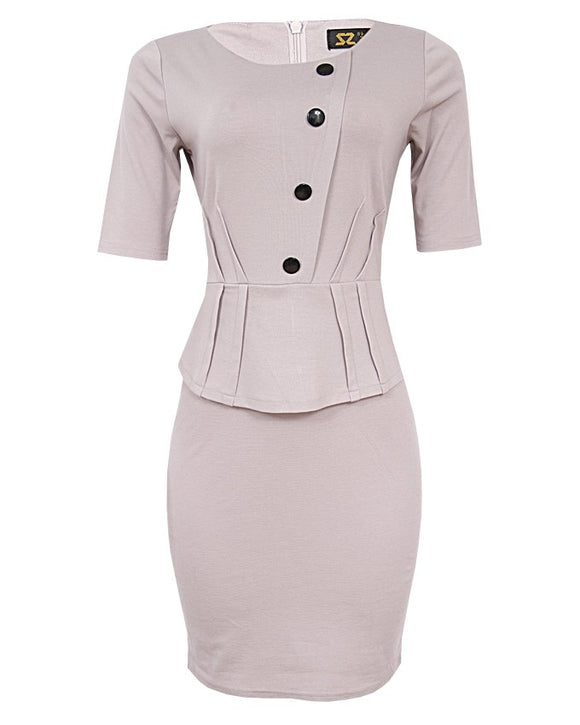 Front Button Detail Peplum Dress