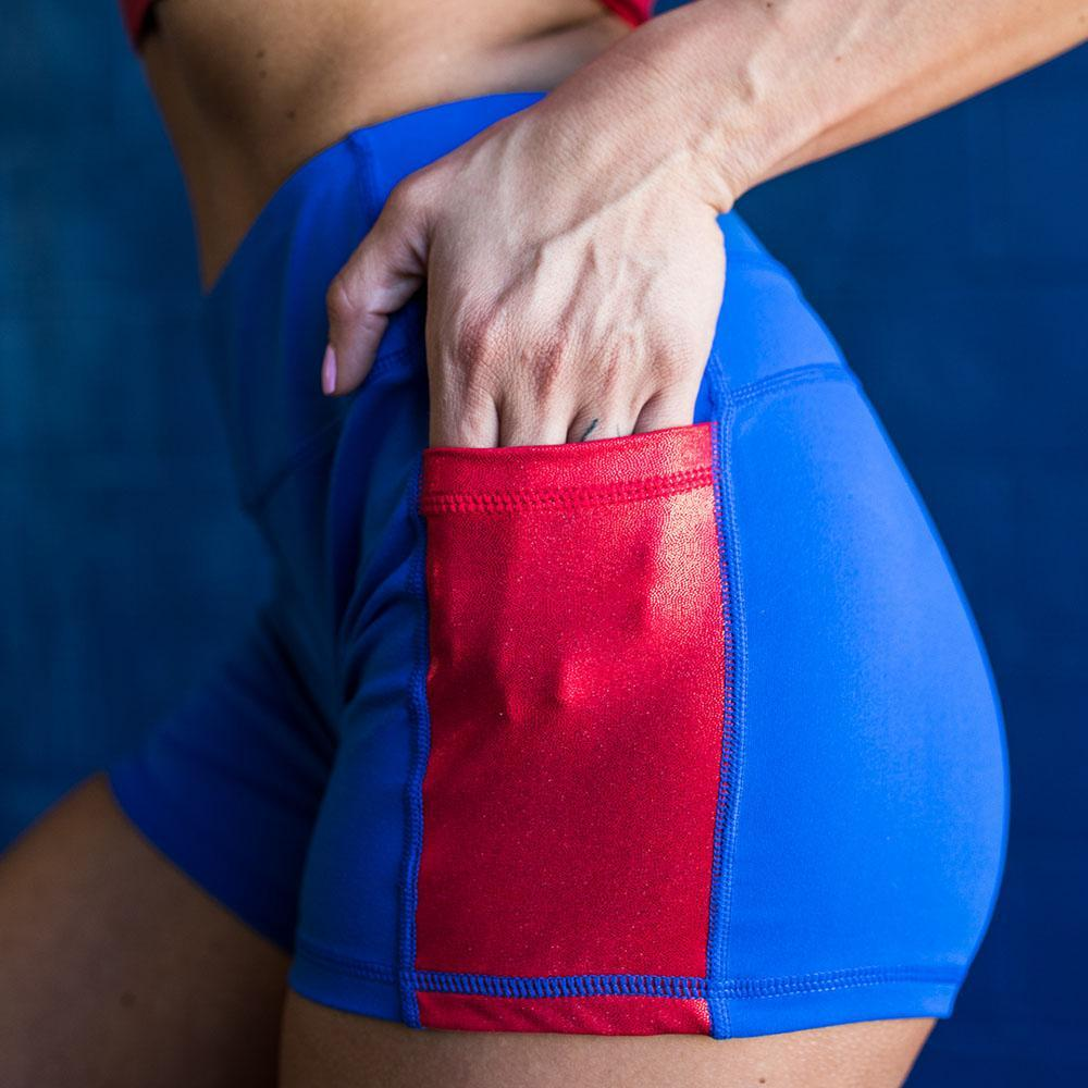 Rise & Grinds Booty Shorts (Royal w' Red Glitter Pocket)
